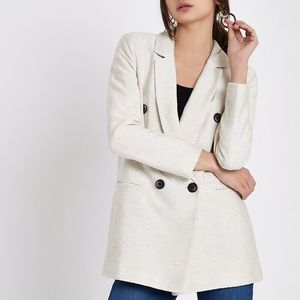River Island cream natural double breasted blazer